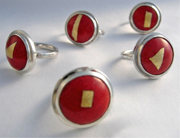 Enamelled Dome Rings