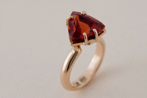 Mandarin garnet and gold ring at McLachlan Studio
