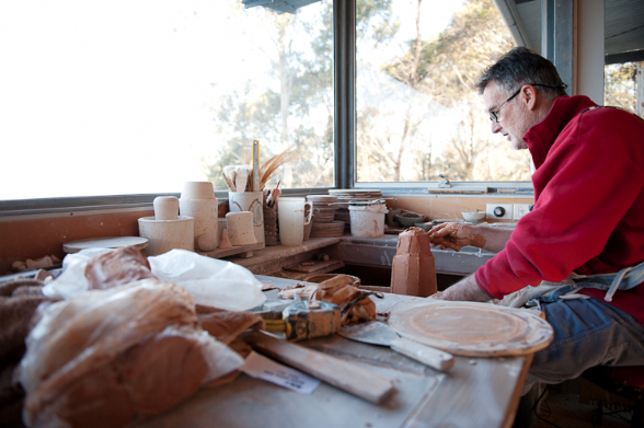 Ben Richardson working on a ceramic piece