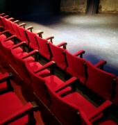 Red seats in the Peacock Theatre