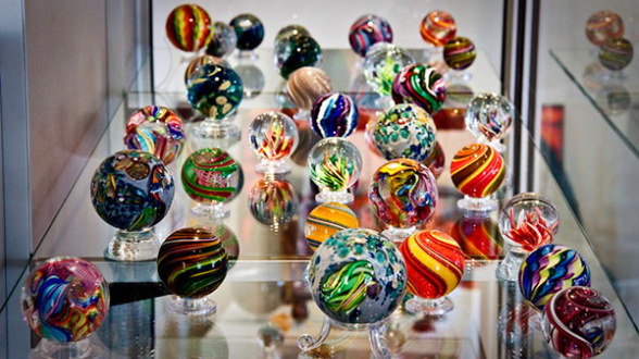 Handmade glass art marbles