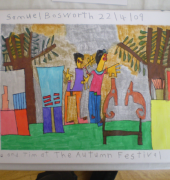 Painting title 'Me and Tim at the Autumn Festival' by Samuel Bosworth