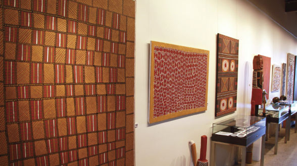 Inside of Art Mob gallery showing Paintings from Munupi Arts * Crafts. Tiwi Islands