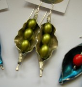 Earrings; aluminium, glass, sterling silver