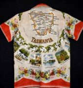 Back view featuring map of Tasmania upcycled from vintage linen tablecloth