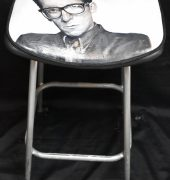 Bespoke guitar stool with portrait of Elvis Costello painted by Hamish Hall