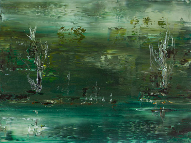 Image of Geoff Dyer's painting, 'Study for Waterhole Suite 3'.