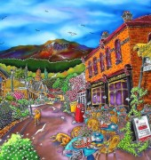 Image of Esther Shohet's silk painting, 'On the corner in silk'.