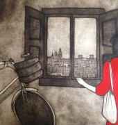 Print by Kate Peikutowski called A Window of Lisboa.