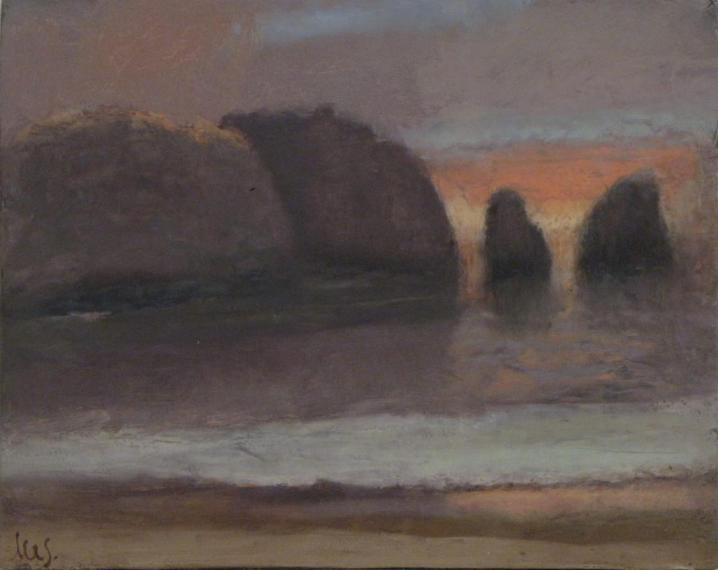 Lighthouse Beach-North, oil on board, 20 x 25.5cm, Stephen Lees