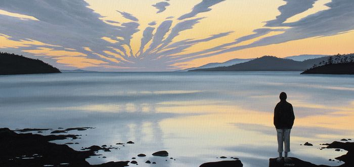 Image of Richard Stanley's painting, 'ANZAC Sky - Randall's Bay'.