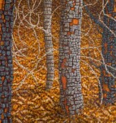 Image of Richard Wastell's painting, 'Sheoaks near a slow river'.