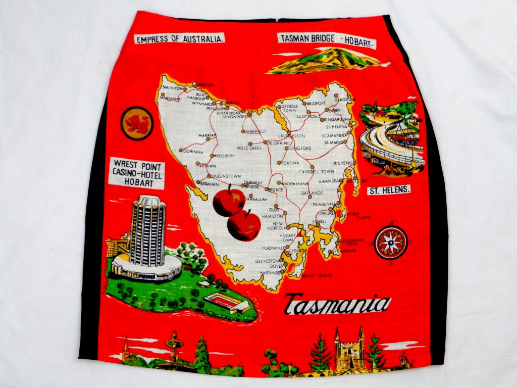 """Stylish and witty skirts made from vintage tea towels. Tasmania's own """"in"""" joke."""