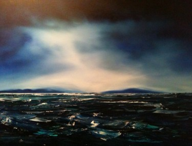 Image of Stuart Clues' painting, 'Freycinet from Spikey Bridge'.