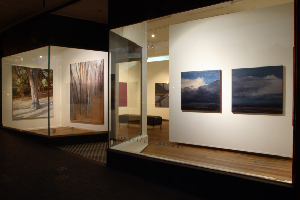Exterior of Bett Gallery at night
