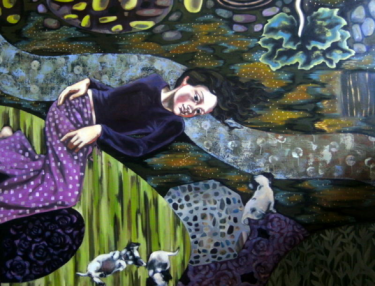 Garden Path, a painting by Zsuzsa Kollo, 2010