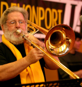 Kevin Finlay playing the trombone at the Devonport Jazz Festival