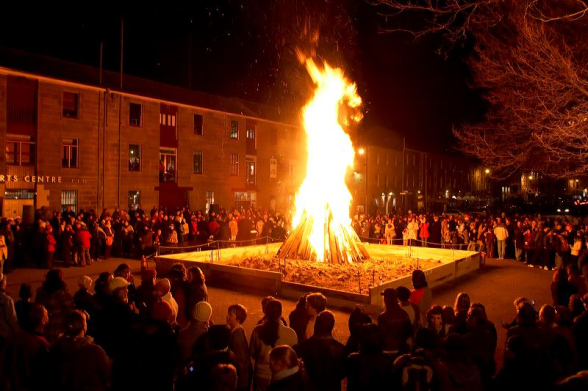 Bonfire at Salamanca Place for the Big Sing which is part of the Festival of Voices