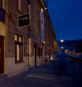 Exterior of Handmark Gallery Hobart at night