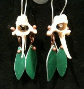 Earrings; vertebrae, aluminium, copper, sterling silver
