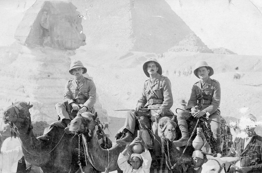 Wilson, Williamson and Morris at the Sphinx, Egypt.