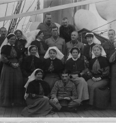 Medical and Nursing staff aboard HS Gascon several trips after the landing circa 1915.