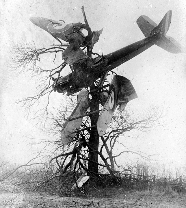 Plane crash from glass slide negative donated by Mr J Simmons and taken by his father during the Great War