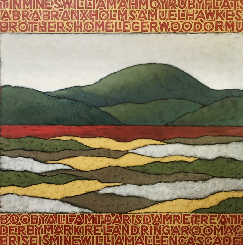 Landscape in Gold and Tin (Blue Tiers) 101.6 x 101.6 cm oil on canvas