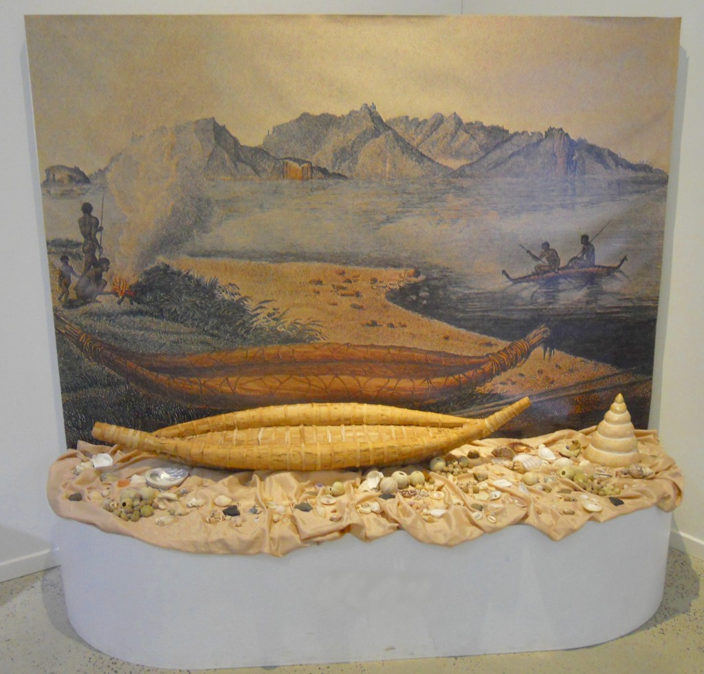 Image of a model paperbark canoe by Rex Greeno
