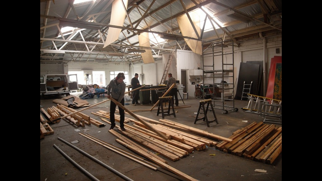 Early construction of The Berry Man and Pop-Up Theatre No. 1