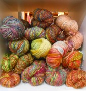 Woollen yarn hand spun and dyed in Tasmania