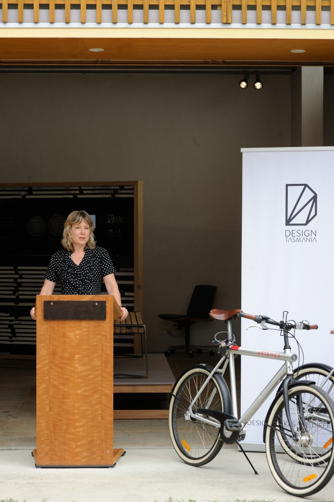 The Minister for the Arts, The Hon. Dr Vanessa Goodwin MLC launching the ARTBIKES program at Design Tasmania in April 2014