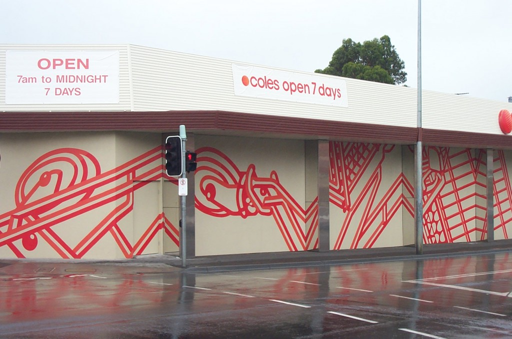 Coles Old World, mural of shopping trolleys on the outside of Coles Supermarket Sandy Bay Road, Hobart