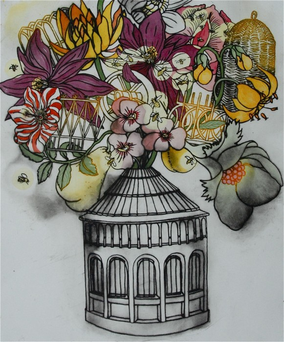 hand coloured drypoint