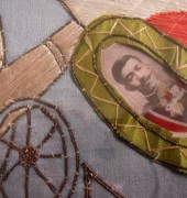 Needlework panel stitched by a soldier from Ulverstone as part of his rehabilitation in an English hospital, from the Ulverstone History Museum collection.