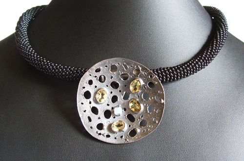 925 silver oxidised woven beaded onyx collar with lace dish pendant and 4 yellow topaz and one blue chalcedony