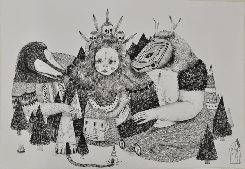 Council of the Mountain Spirits 2014 ink on paper 29 x 42cm