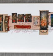 oil, ink and collage on belgian linen and paper, 30 x 90 x 4cm