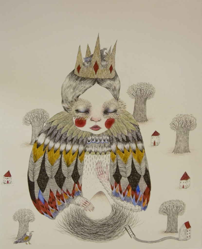 The Bird King, 2014, fine pen and couloured pencil on paper 59 x 42 cm