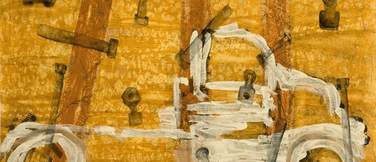 relief print with clay, ink and clay drawing, detail