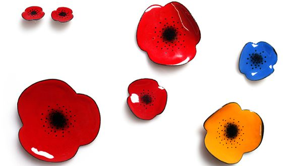 poppies brooches and studs