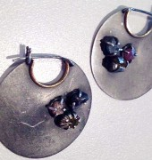 Oxidized Hoop Earrings with Rough Stones