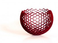 Red Honeycomb Bowl - hand dyed sls nylon