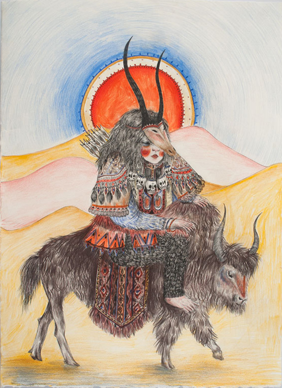 The Archer at Sunrise, 2015, pen and coloured pencil on arches, 53 x 38.5 cm Signed verso