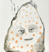 Mask head, watercolour and pencil on arches, 50 x 35 cm signed lower right