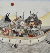 'Blood Moon (The Oarsman)' 2015, pen and coloured pencil on arches, 57 x 76 cm Signed verso