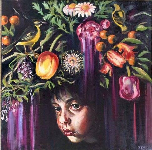 Foraged Crown 2018, oil on linen, 50 x 50cm, $3,800