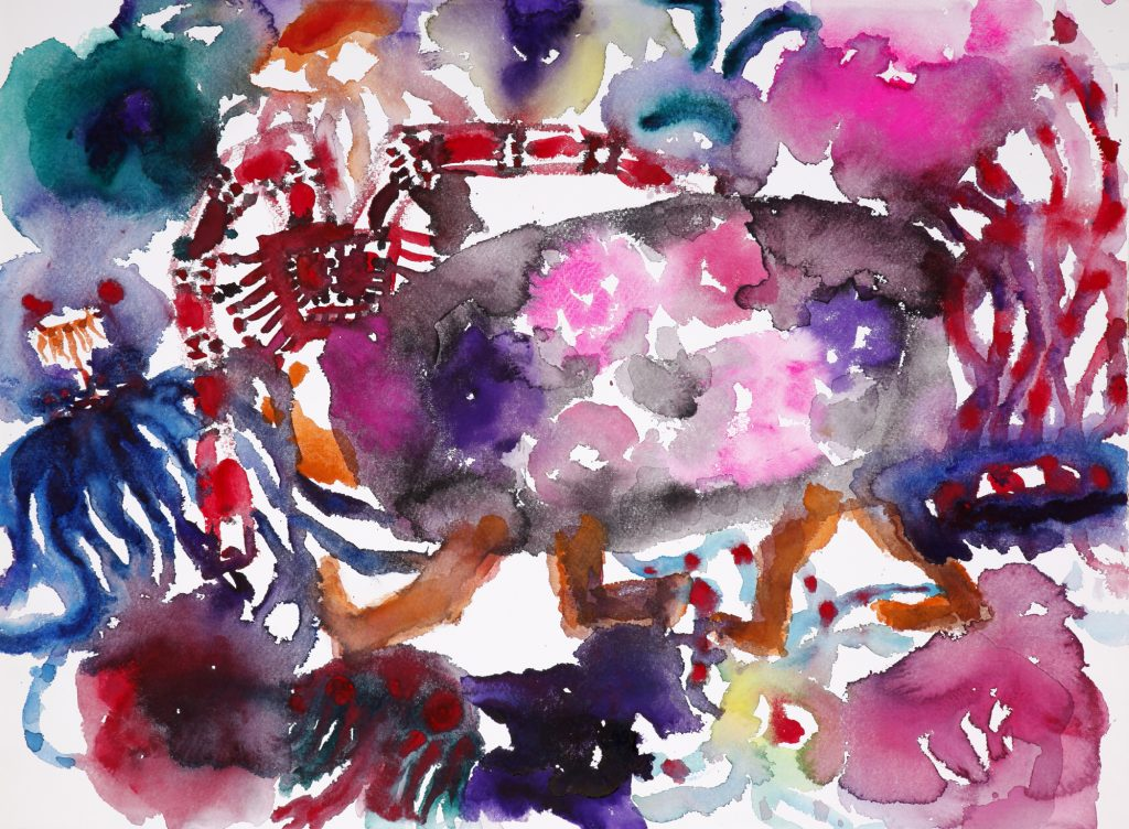 Garden 1 2018, watercolour on paper, 56 x 76cm, Chen Ping