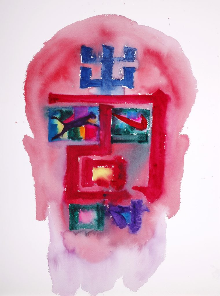 Long Life 2 2018, watercolour on paper, 76 x 56cm, Chen Ping