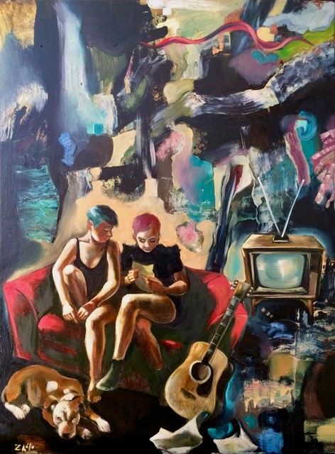 Music Room, oil on board, 60 x 45cm